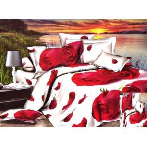 Povlečení na přikrývku a polštáře bílé s červenými růžemi
