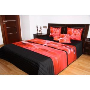 Přehozy na manželskou postel s motivem červená japonská sakura na černém podkladu
