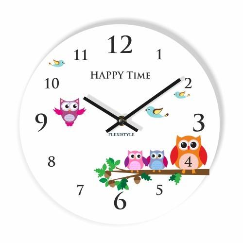 Dětské nástěnné hodiny se sovičky