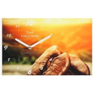Oranžové nástěnné hodiny do kuchyně s motivem kávy