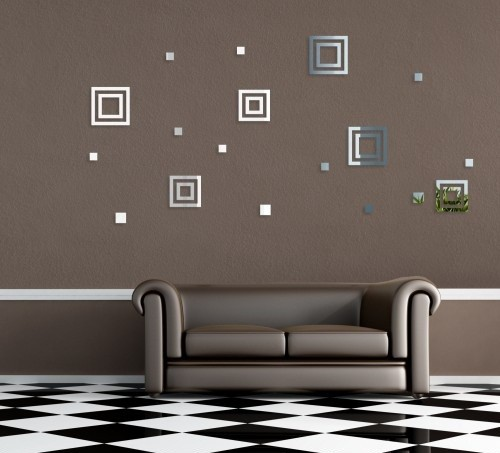 Dekorační nalepovací zrcadla ve tvaru čtverců