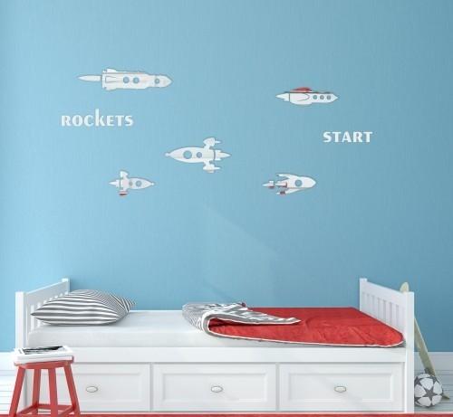 Rakety chlapecké zrcadlové nálepky na stěnu