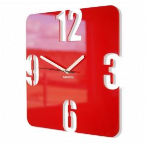 Červené čtvercové hodiny s tichým chodem