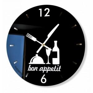 Černé kulaté hodiny do kuchyně