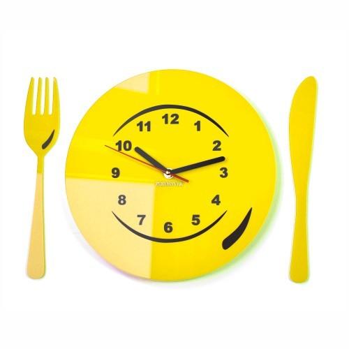Kuchyňské nastenne hodiny talíř s příborem