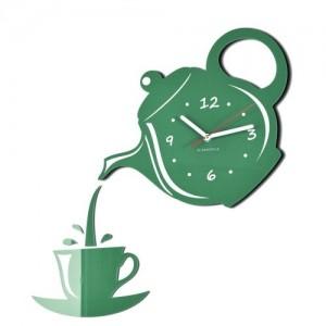 Zelené nástěnné hodiny s tichým chodem