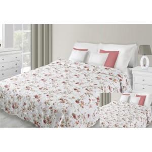 Přehoz na postel bílé barvy s motivem červených květů