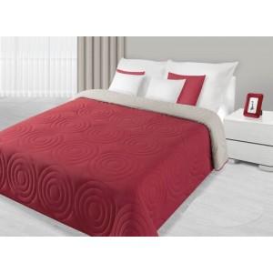 Přehoz na postel červené barvy s kruhovým prošíváním