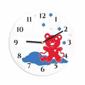 Kulaté hodiny do dětského pokoje s medvídkem