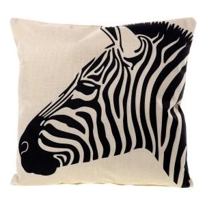 Lněný povlak na polštář s motivem zebry