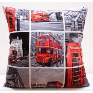 Šedé povlaky na polštáře s podtiskem Londýna