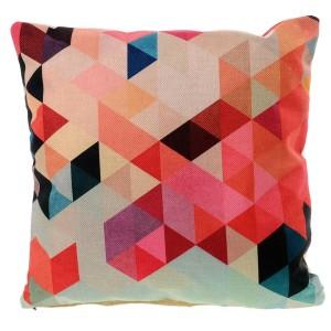 Lněný povlak na polštář s geometrickými tvary