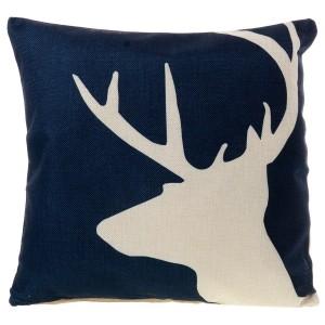 Modrý lněný povlak s jelenem
