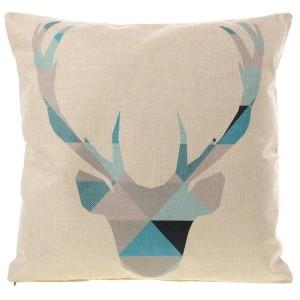 Béžový lněný povlak na polštář s jelenem
