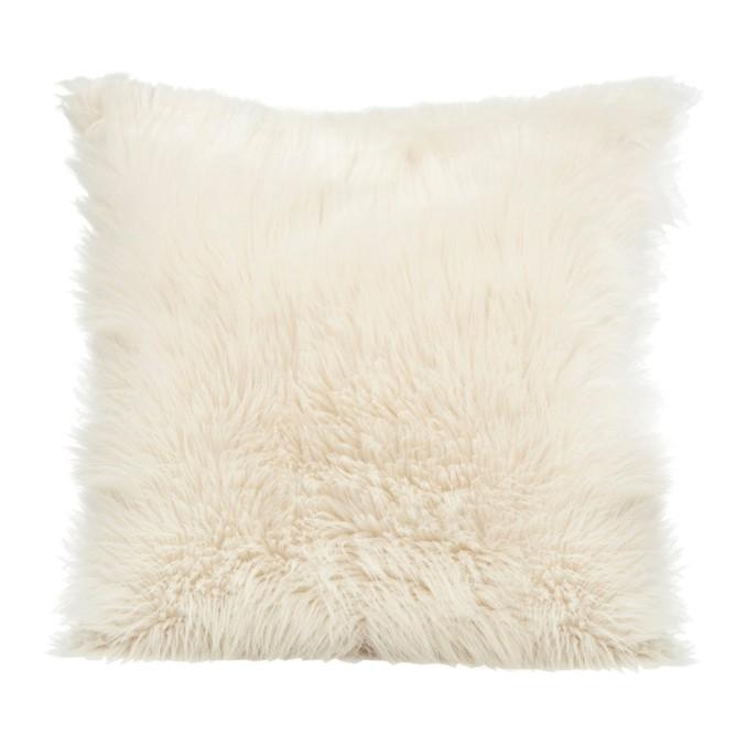 Dekorační chlupaté povlaky na polštář v krémové barvě