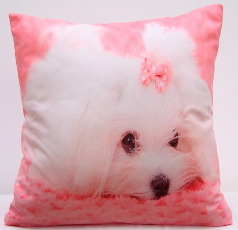 Růžový povlak na polštář s roztomilým bílým pejskem
