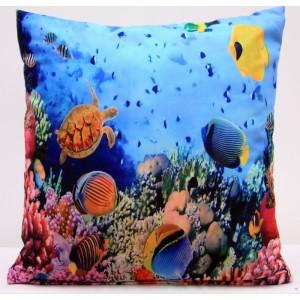 Modrý povlak na polštáře s podtiskem mořského světa