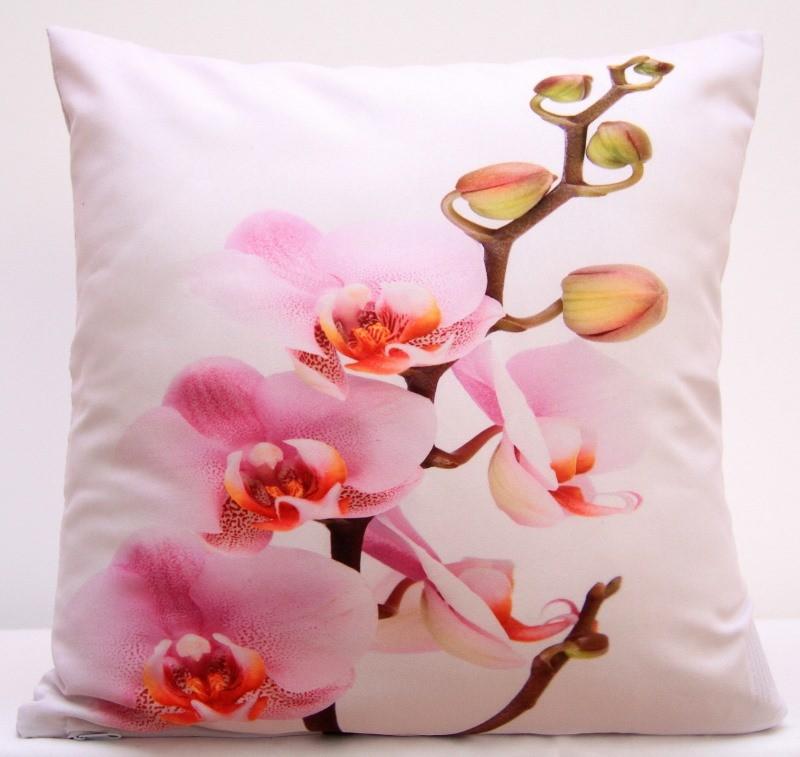 Bílé povlaky na polštáře s růžovou orchidejí