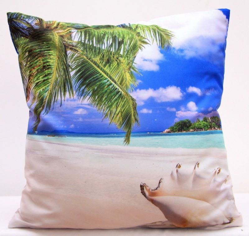 Pískově modré povlaky na polštář s motivem sluneční pláže