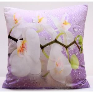 Fialový povlak na polštáře s orchidejemi a kapkami