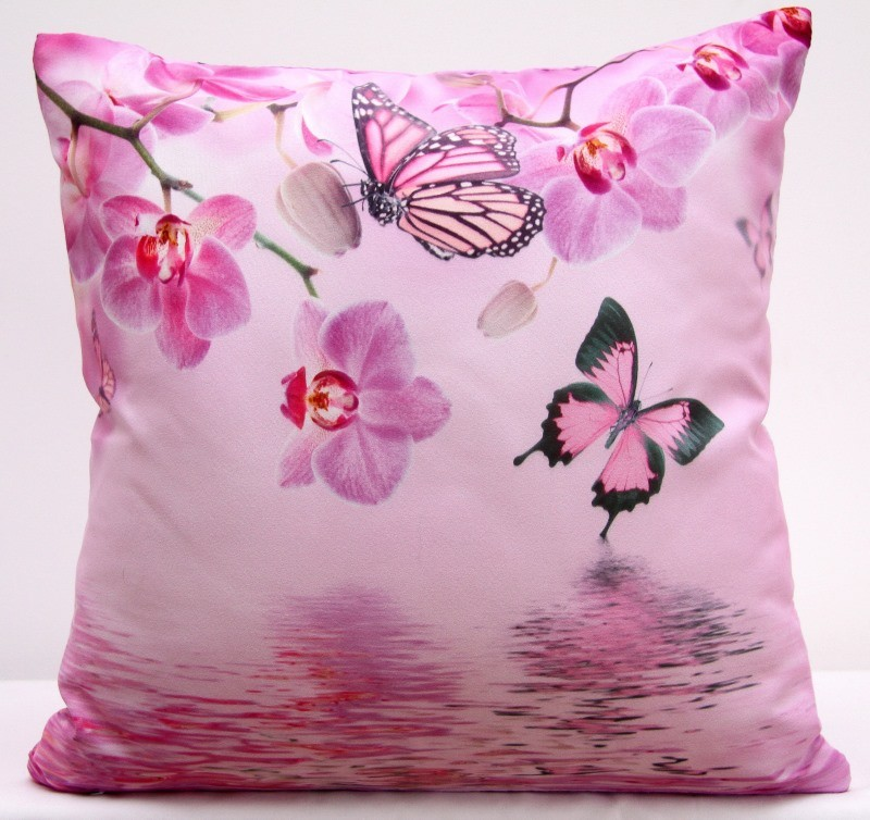 Růžové povlaky na polštáře s motýly a orchidejemi