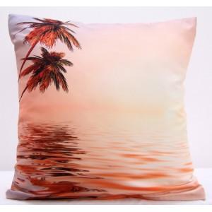 Povlaky na polštáře lososové barvy s motivem palem u moře