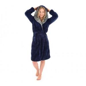 Tmavě modrý dámský župan s kapucí