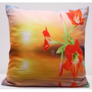 Žluté povlaky na polštář s motivem červené lilie