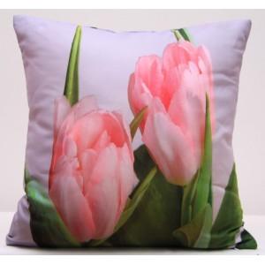 Bílý povlak na polštáře s motivem růžových tulipánů