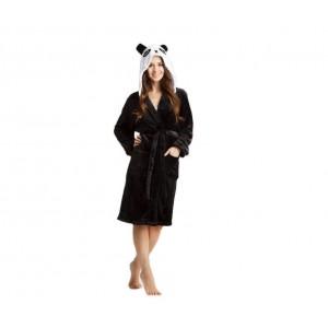 Černý dámský župan s kapucí PANDA